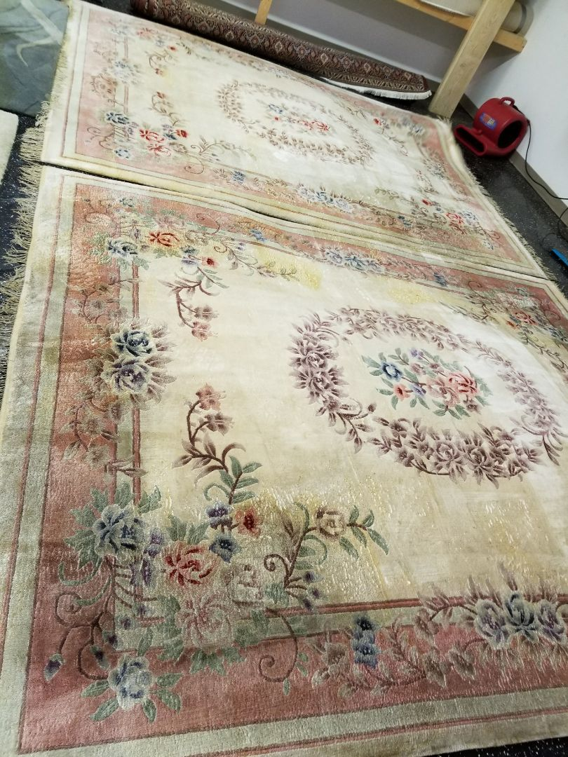Wool area rugs picked up out of the Cary area. Cleaned and treated by technician Nick.