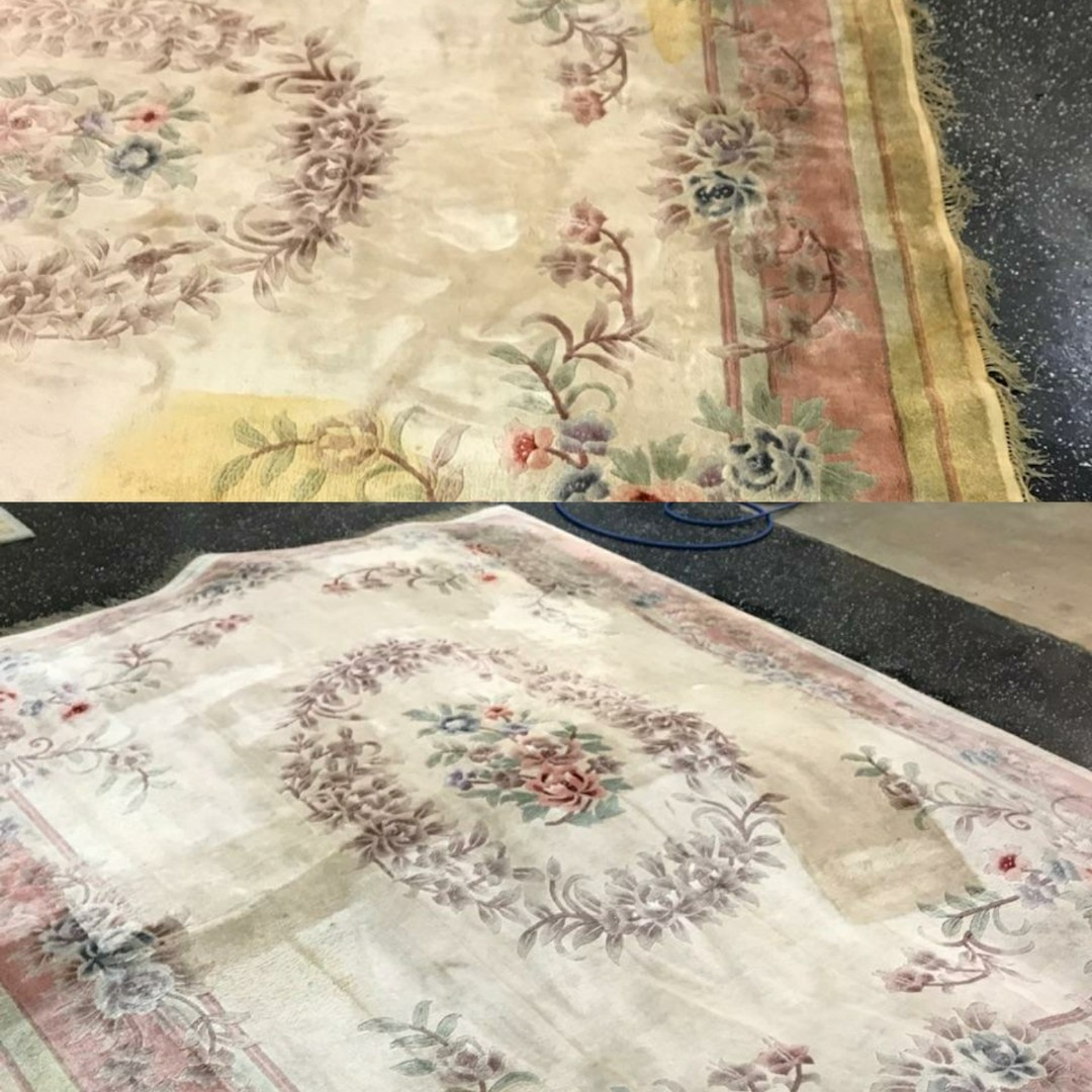 Before and after photo of wool area rugs that were treated for urine and water stains. Technician treated rug, removed about 90 percent of the stains to restore it back to original condition.