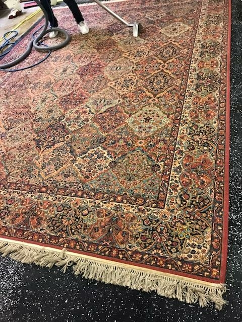 Schaumburg, IL - Wool area rug with fringe detail cleaned and treated by technician Billy. Area rug was brought in from Chicago, North side to be cleaned.