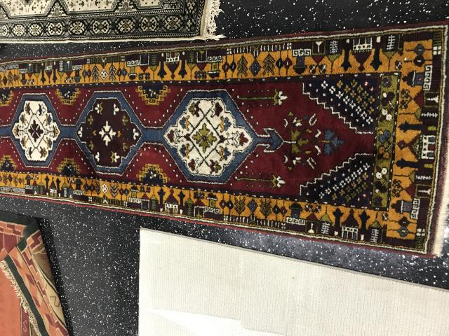 Persian wool runner, brought in from the Deerfield area. Cleaned and treated for pet odor, restored vibrancy of colors and fringe to original state. Area Rug was cleaned by technician Billy.
