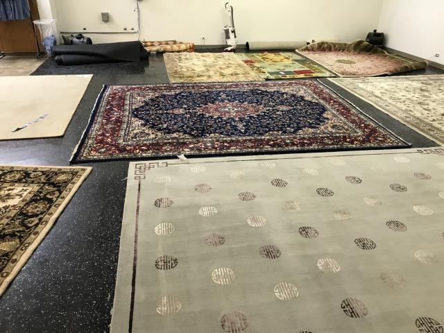 Area Rug cleaning, brought in to be treated and serviced for pet odor and pet wear. Treated with Organic sanitizer and preconditioning to remove the dirt and build-up.