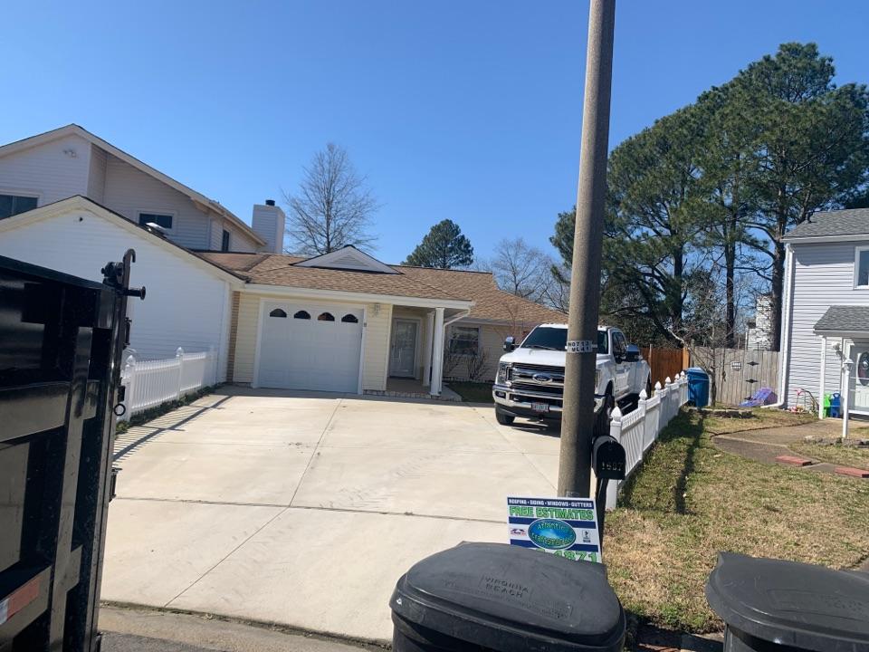 Virginia Beach, VA - Today Atlantic Craftsman installed a new GAF roofing system in Virginia Beach, Virginia using GAF Timberline HDZ Shakewood shingles!