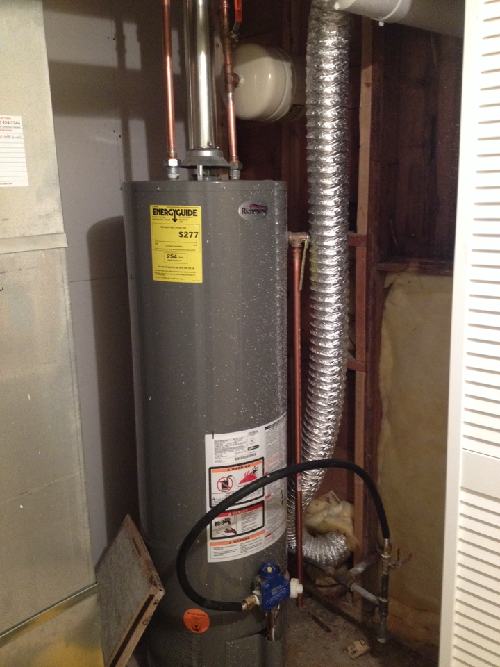 "Trenton, IL - Plumber needed for a plumbing service call. Bringing water heater up to code, installing gas track pipe and fittings and installing a a 3/4"" brass shut off and expansion tank."
