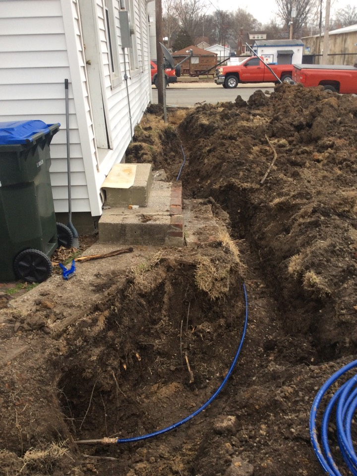 New Athens, IL - Plumber needed for a plumbing service call. Replacing a water service from meter outside to inside of the house.