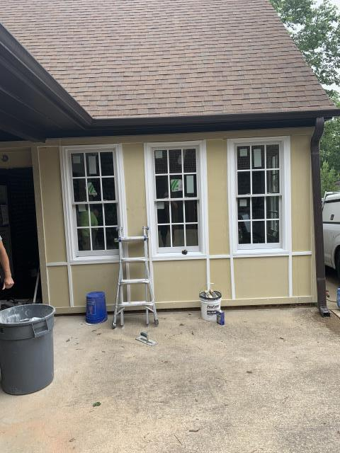 "Birmingham, AL - What once was just a covered patio is being enclosed to create a new office space for the homeowner. The exterior was designed to blend with the architecture of the neighborhood featuring a modified Tudor-style design of ""Wattle and Daub."""