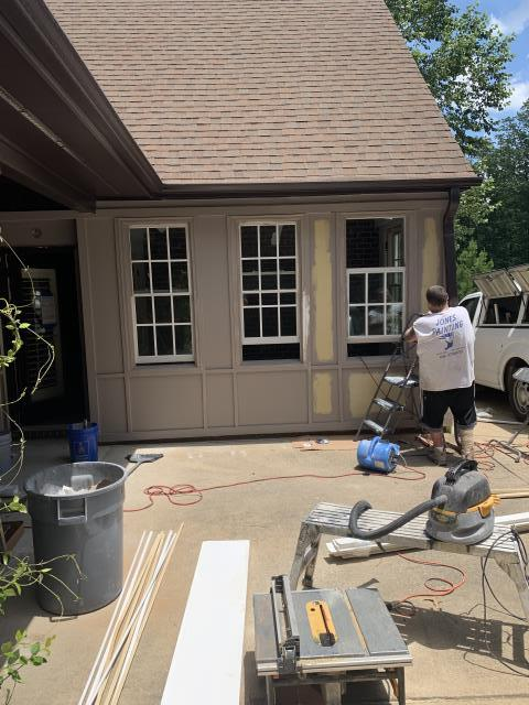 """Birmingham, AL - Exterior siding is going trim color to seamlessly blend with the home. The main goal of any addition is to have it appear to not """"look"""" like an addition in the first place. By blending the siding material to match the house trim color, it camouflages the addition which will allow it to appear like it has always been there."""