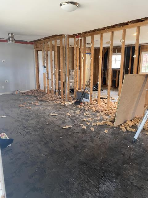 Birmingham, AL - Demo has begun on this Bluff Park rancher. We are removing the walls between kitchen and livingroom to allow for a more open concept design. Beams will be installed to keep the integrity of the house intact as this main wall is load bearing.