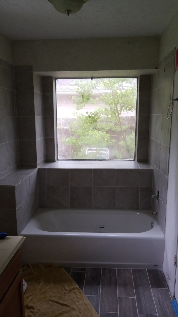 League City, TX - Ceramic tile tub surround replacement and new tub