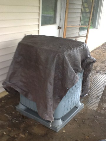 Horton, MI - Cleaning a outside condenser .amana