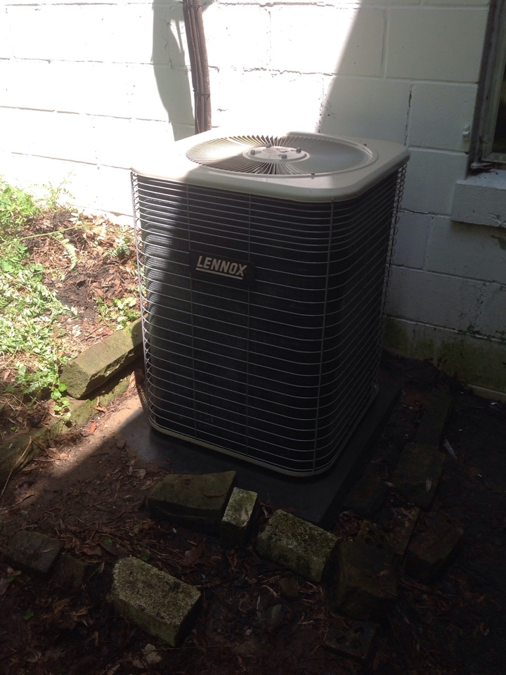 Rives Junction, MI - Performing a clean and check on a Lennox AC unit.