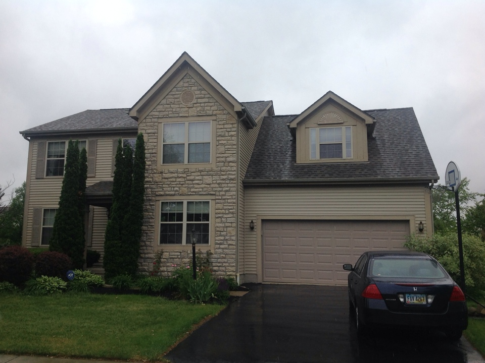 Dublin, OH - After installing GAF Timberline HD Weathered Wood shingles on this Dublin home, we came back out and installed some beautiful Royal Crest Wicker vinyl siding. Now the project is complete!!