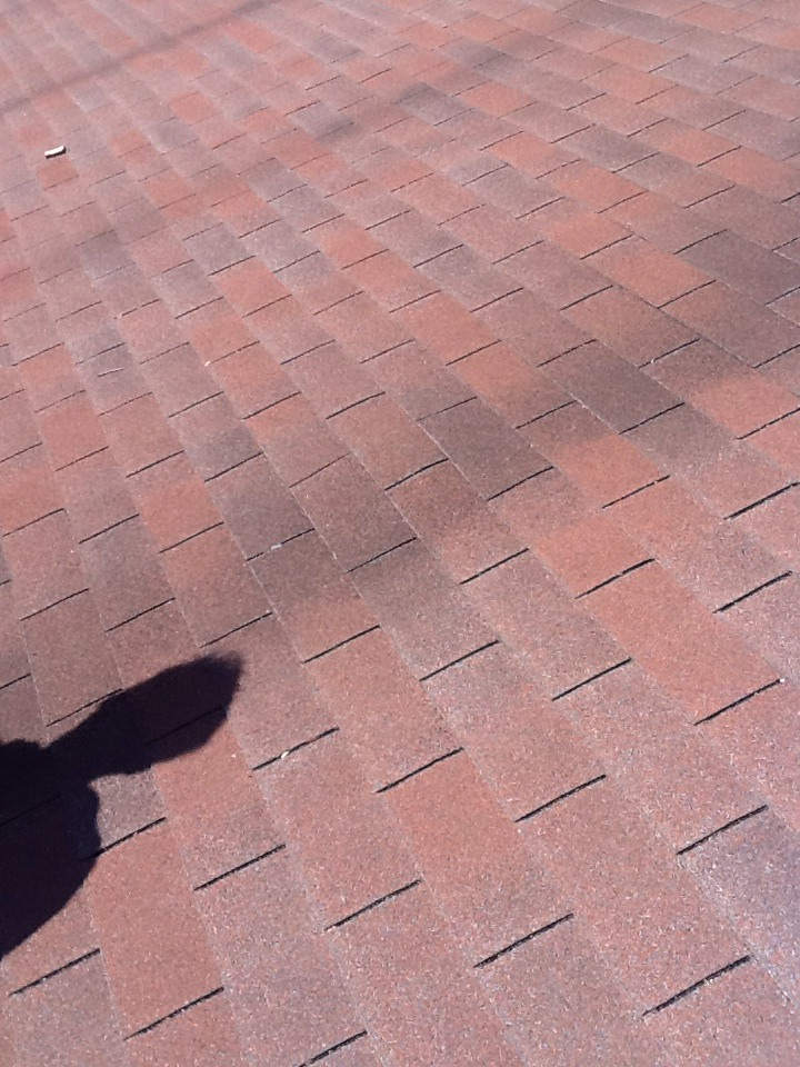 Columbus, OH - Hump in roof decking repair before picture from Muth&Company Roofing