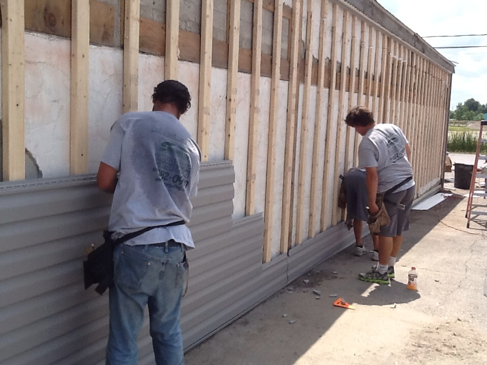 Delaware, OH - Out here in Delaware installing new siding on a Habitat for Humanity building.