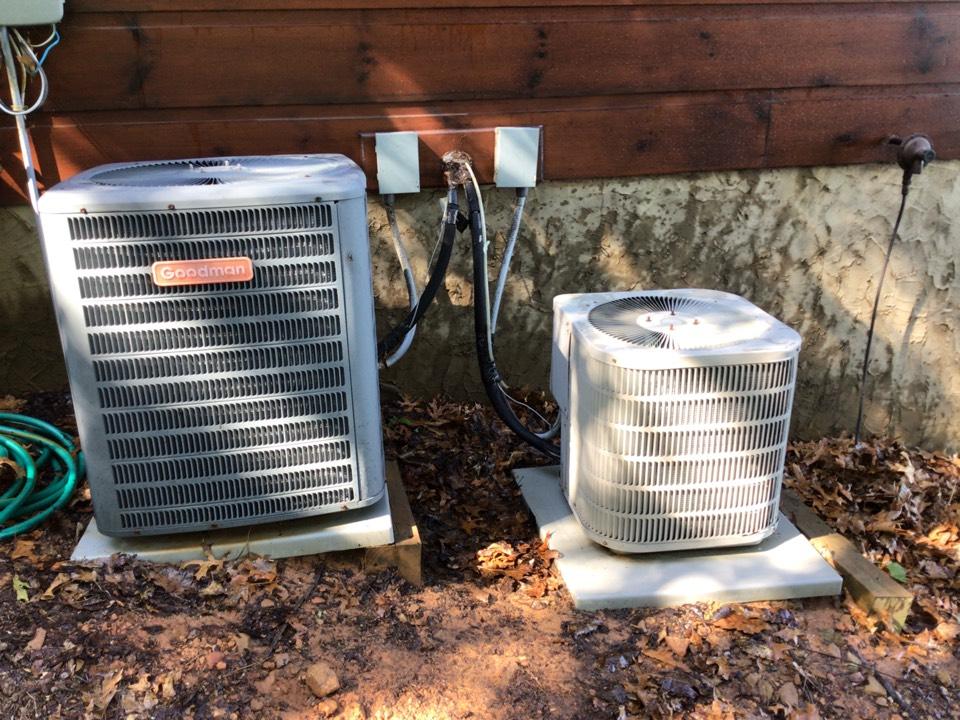 Blue Ridge, GA - Two Goodman heat pump maintenance and filter change