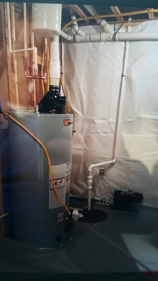 Arlington, VA - Installed 75 Gallon Powervent water heater and Zoeller sump pump with battery powered backup
