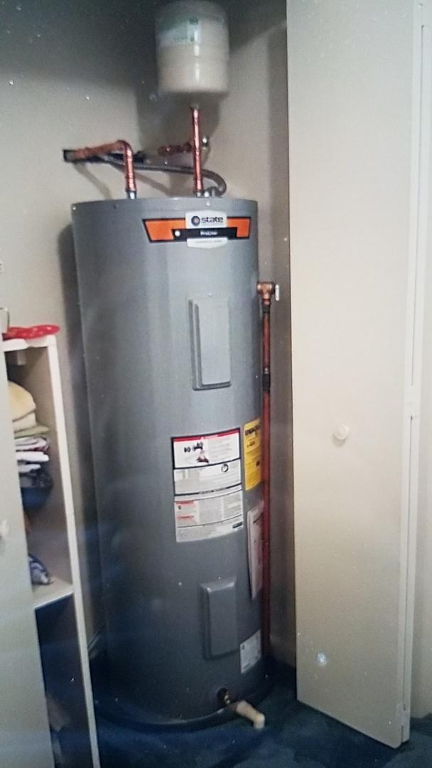 Fredericksburg, VA - Replaced 50 Gallon Electric water heater, shut off valve Expansion tank with pan