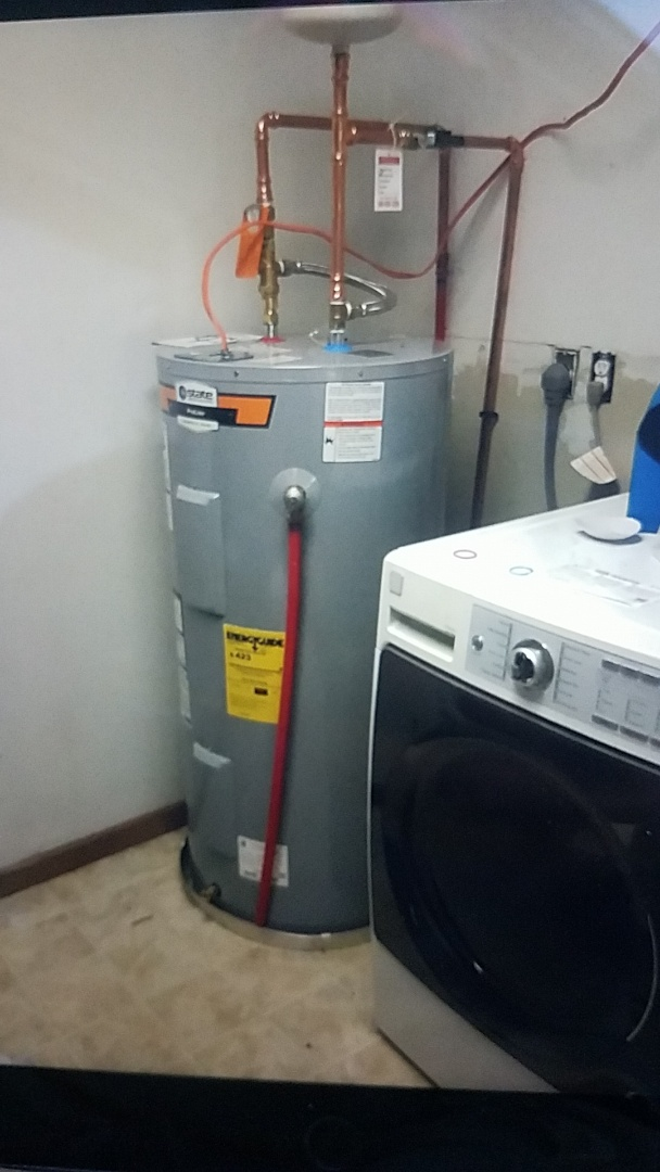 Stafford, VA - Installed 50 Gallon Electric water heater tank booster shut off valve expansion tank with pan