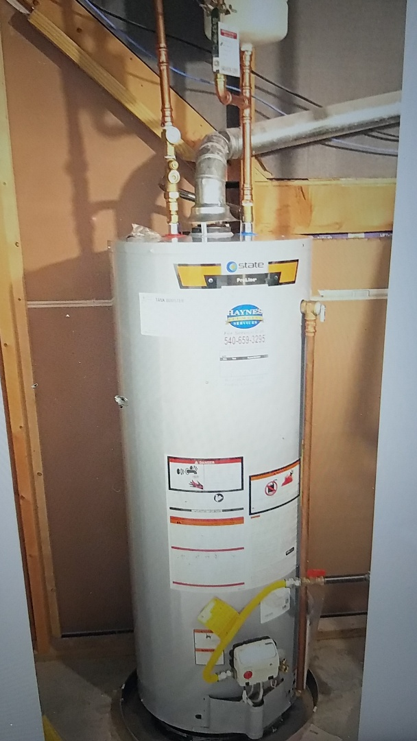 Install 50 gallon propane water heater with tank booster shut off valve expansion tank and drain pan Stafford va