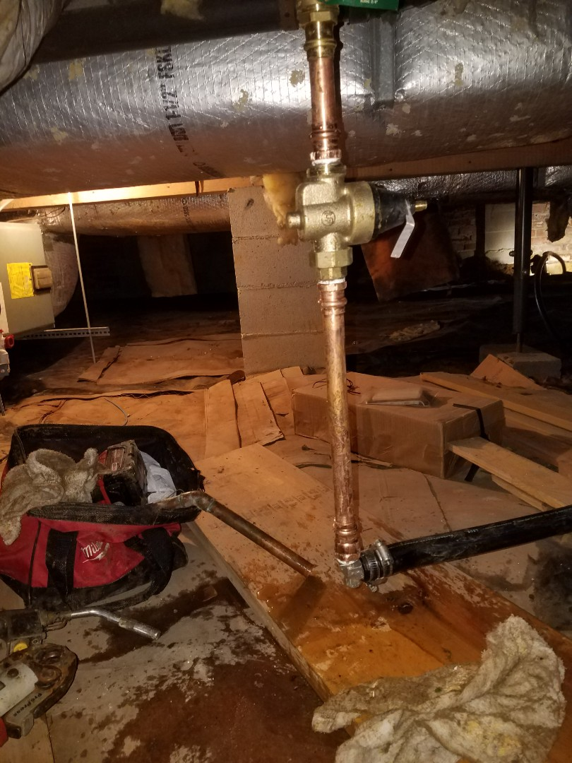 Stafford, VA - Replace water service from meter under crawl space of house new shutoff valve and pressure reducing valve on main