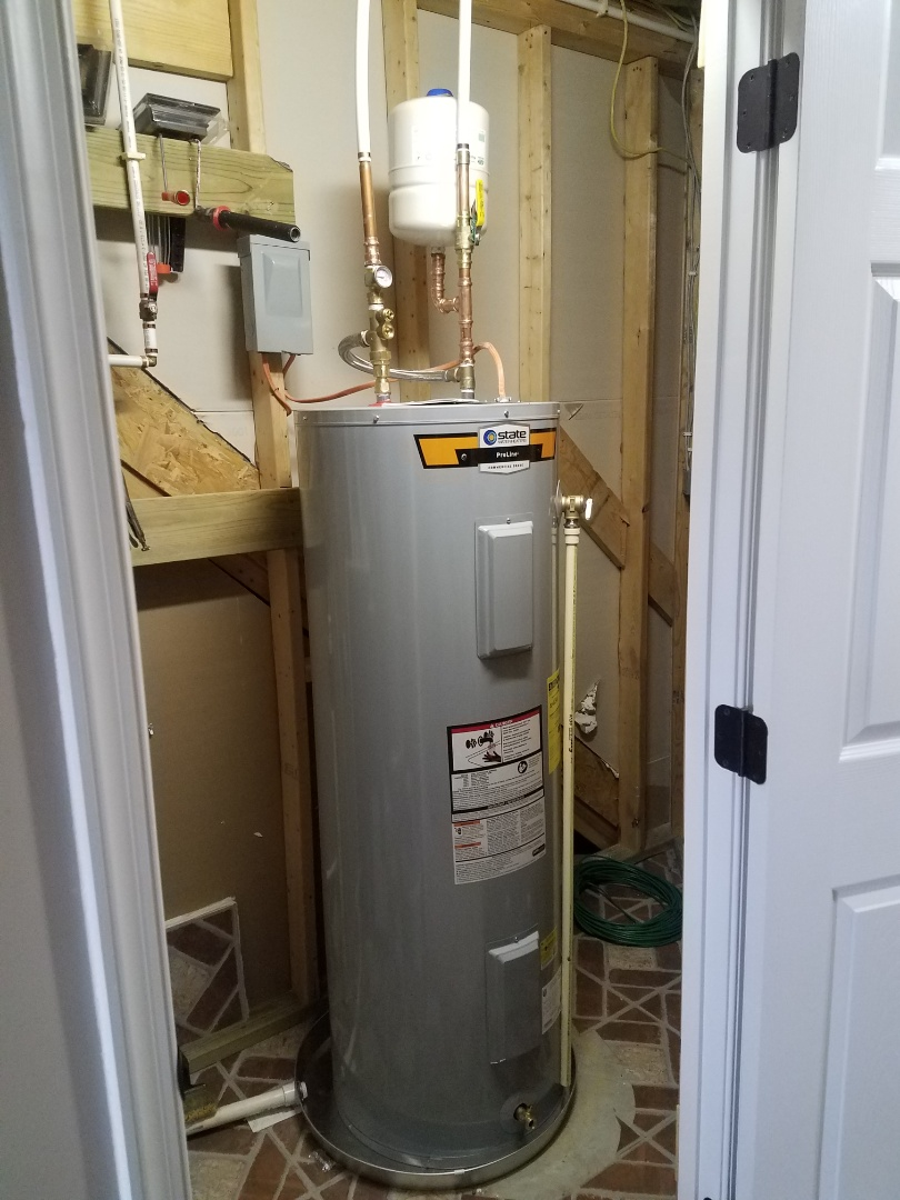 Stafford, VA - Installed 50 Gallon Electric Water Heater with Tank Booster, shut off valve expansion tank and drain pan