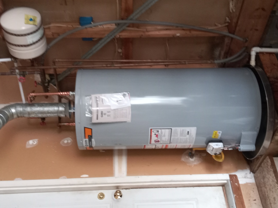Install 75 gallon natural gas water heater which shut off and 5  gallon expansion tank and pan