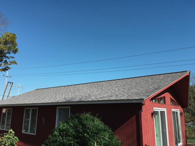 Eastham, MA - Roof replacement done in Eastham, Massachusetts. Owens Corning Duration shingles - Quarry Gray.