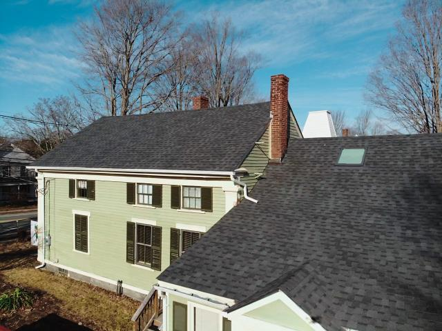 Hubbardston, MA - Finished roof replacement using Atlas Pinnacle Pristine Black shingles.