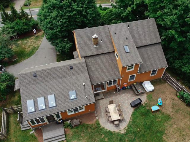 Holden, MA - Roof installation complete using Atlas Pinnacle shingles. Color - Pristine Weathered Wood.