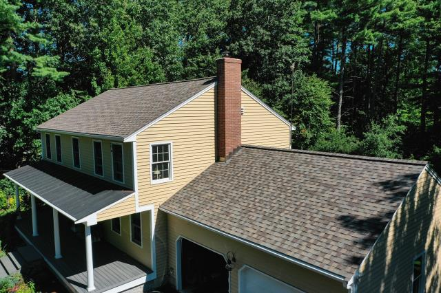 Holden, MA - Roof installation complete using CertainTeed Landmark Pro Max Def Weathered Wood shingles.