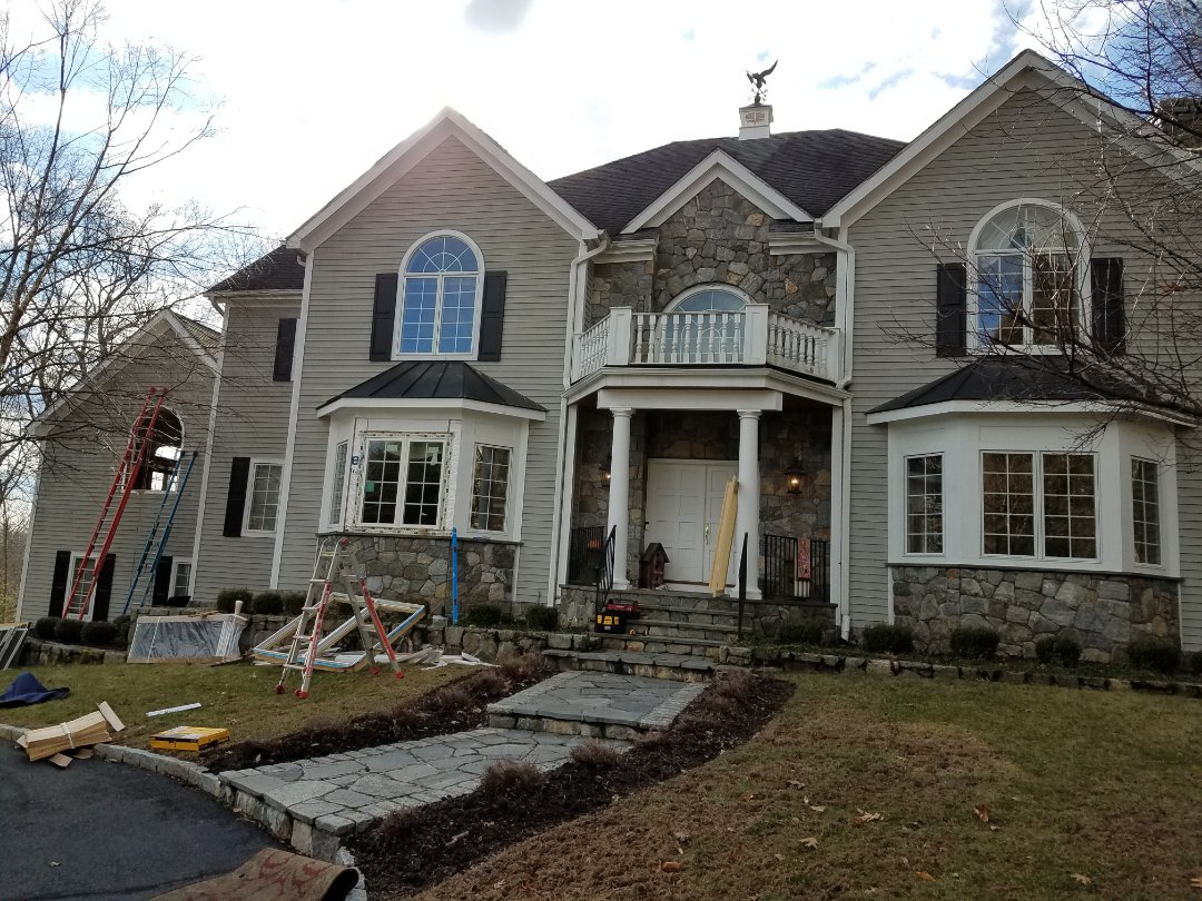 Stamford, CT - Replacing  oversized casement doubles with a semi circle  transom on Woodbine Way in North Stamford.