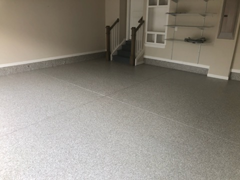 Marietta, GA - Garage floor and patio coated in one day with polyaspartic coating.