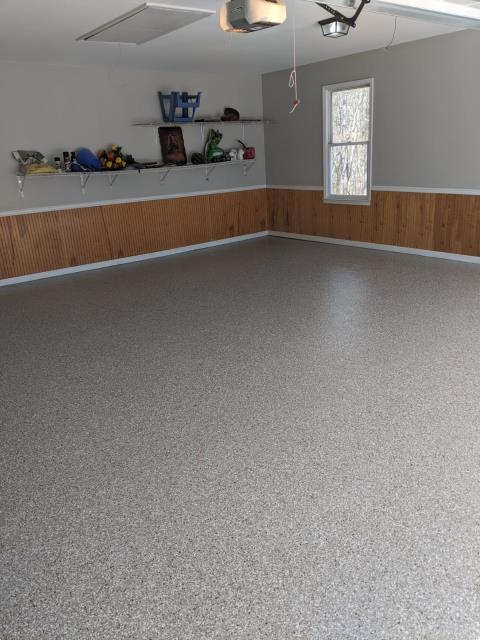 Canton, GA - Guardian Garage Floors installed a beautiful polyaspartic concrete coating in Canton today. The customer wanted to repair cracks and divots in their garage floor. This is one of our popular colors Creekbed.