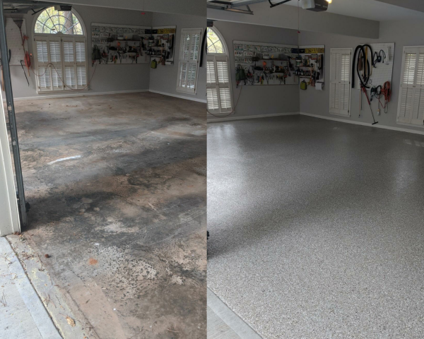 Marietta, GA - A customer in Marietta gave their garage floor a brand new look today! Guardian Garage Floors' installed polyaspartic concrete coating for this three car garage in the color creekbed.