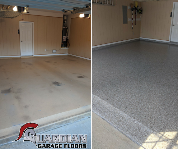 Cumming, GA - Guardian Garage Floors' took a garage floor with peeling paint and installed our polyaspartic concrete coating in Cumming today. What a beautiful garage makeover!