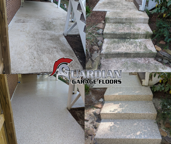 Marietta, GA - Guardian Garage Floors is in Marietta today doing a concrete coating for an outdoor patio. Polyaspartic concrete coating is a perfect solution for all outdoor patios, its UV resistant so it won't fade or turn colors in the sun.