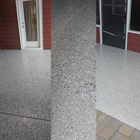 Marietta, GA - Guardian Garage Floors was in Marietta today installing polyaspartic concrete coating for an outdoor patio and screen porch. The polyaspartic polyurea is UV resistant and weather resistant making it a perfect choice for this outdoor area. The customer decided to go with two different colors for each area.
