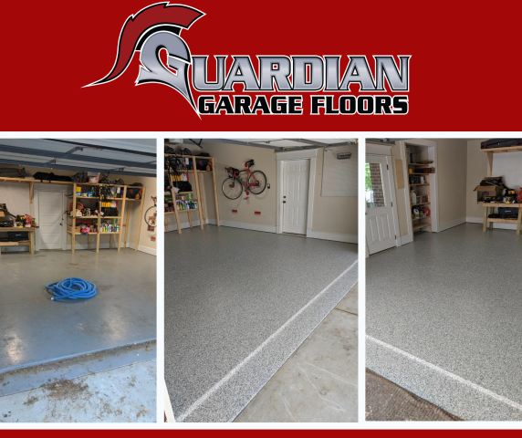 Atlanta, GA - Guardian Garage Floors gave this garage a makeover by removing it's peeling paint and installing our polyaspartic concrete coating.