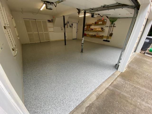 Marietta, GA - Guardian Garage Floors is in Marietta installing our beautiful polyaspartic concrete coating in the color gravel.