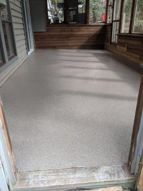 Marietta, GA - Guardian Garage Floors is in Marietta Ga installing this beautiful concrete coating for a screened in porch.  This installation was done I the color pumice tan.
