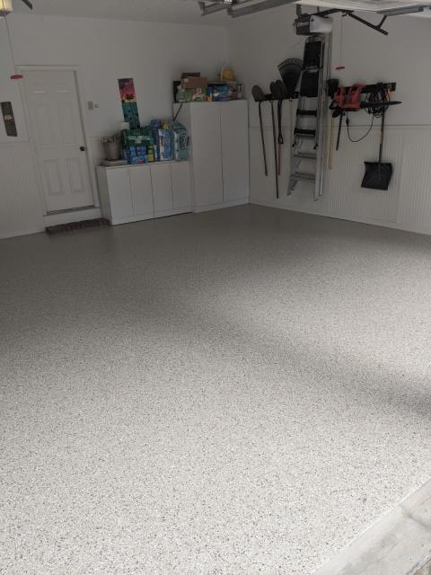 Marietta, GA - An excited customer in Marietta GA replaced their stained and dirty concrete with Guardian Garage Floors' polyaspartic concrete coating in the color Bambi. Now their floor is stain resistant and will last a lifetime!