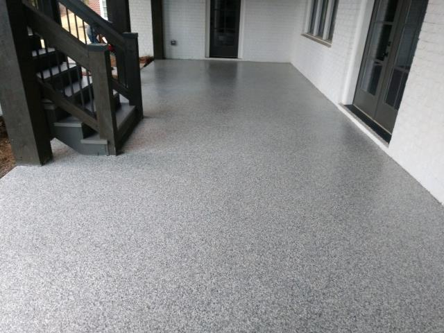Marietta, GA - Our color Mushroom was perfect for this customers outdoor patio. Guardian Garage Floors polyaspartic concrete coating is UV resistant so this patio will never fade or turn color in the sun. This customer in Marietta will have a beautiful patio for a lifetime.
