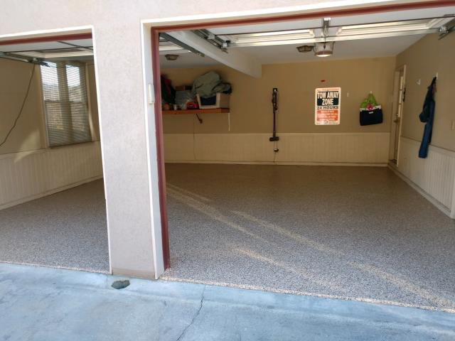 Marietta, GA - Guardian Garage Floors is in Marietta GA today installing a strong polyaspartic concrete coating for this two car garage in the color Saddle Tan.