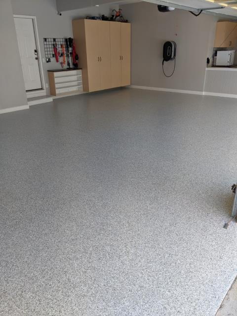 Marietta, GA - A beautiful garage floor coating in the color Antler is being installed in Marietta today.