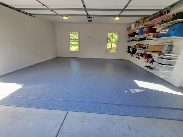 Marietta, GA - Guardian Garage is taking off a peeling DIY garage concrete paint to replace it with a strong and long lasting polyaspartic floor coating in the color basalt in Alpharetta GA.