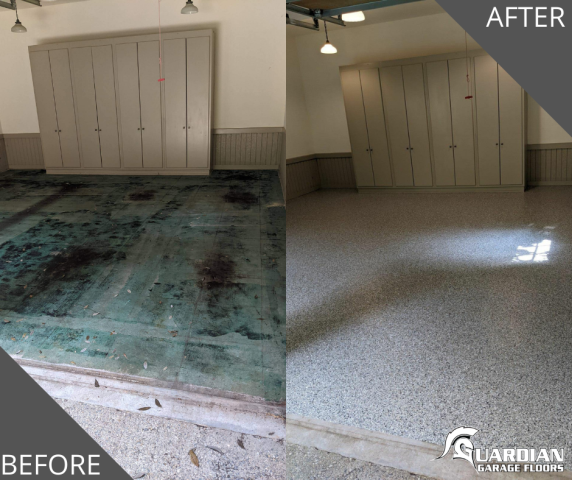 Atlanta, GA - Guardian Garage Floors was in Atlanta GA doing this amazing garage transformation. This customer had felt tile on the concrete that they wanted to replace. Now their floor looks brand new in our color Crossbow.