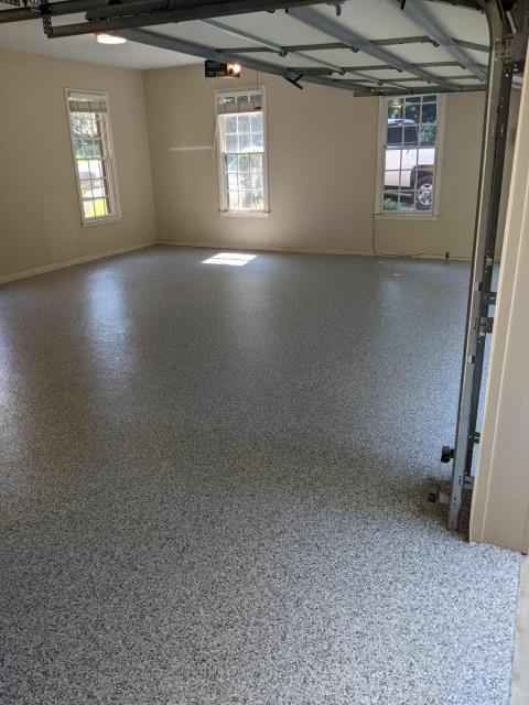 Marietta, GA - Guardian Garage Floors was in Marietta GA installing a concrete coating that is UV resistant and 20X stronger than epoxy. This install was done in the color Gravel.