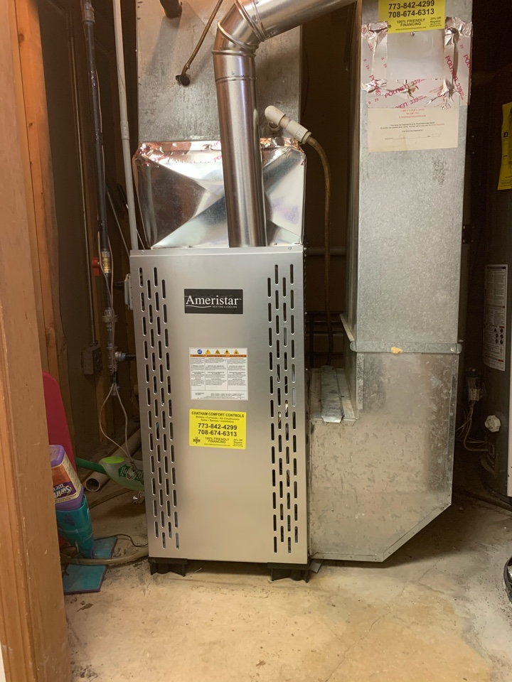 Ameristar 80,000 Btu gas furnace installation