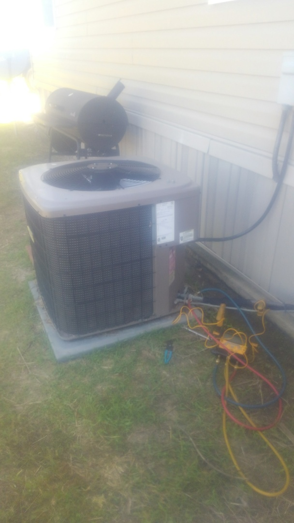 Church Point, LA - Did service call on mobile home unit and added frenon r-410 a.