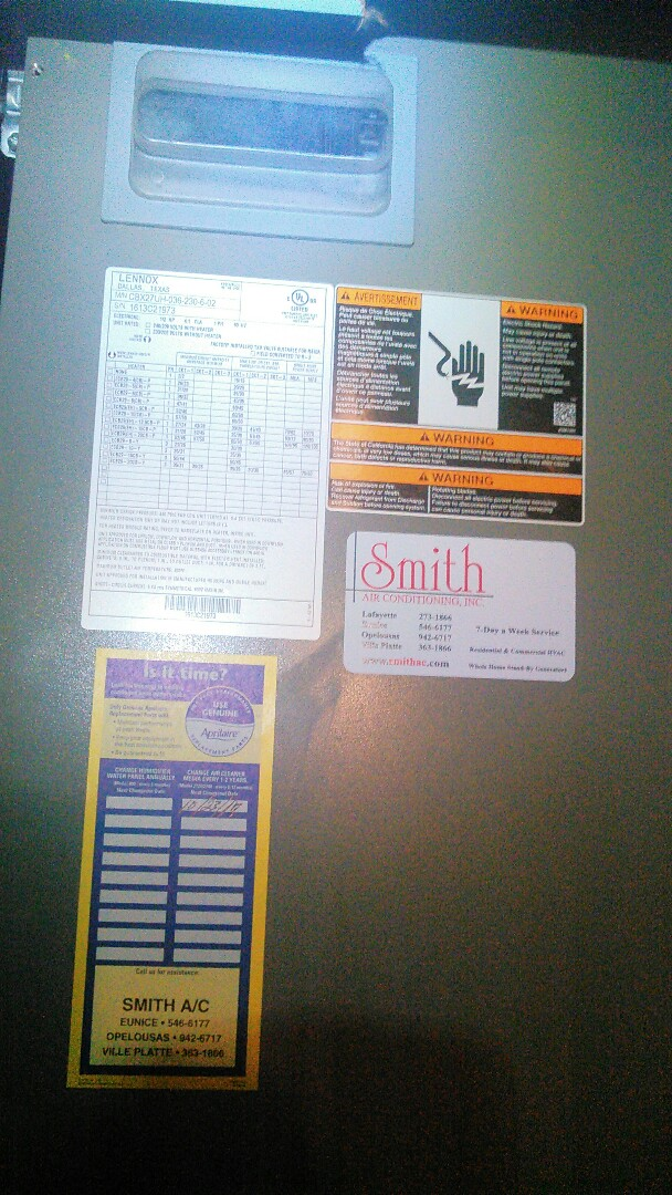 Opelousas, LA - Did heating tune up on Lennox unit and replace filter.
