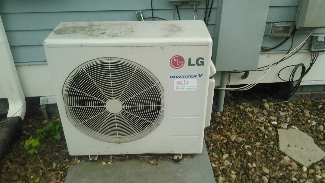 Did service call on LG mini spit and cleaned blower wheel repaired drain line.